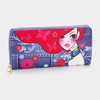 Denim print zip around wallet