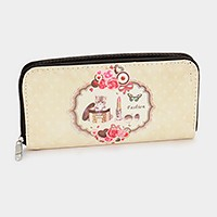 Cat & girl stuff zip around wallet