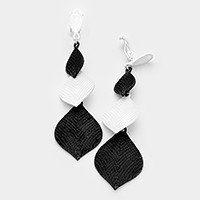 Lacquered monotone metal geo clip on earrings