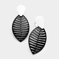 Lacquered monotone metal geo leaf clip on earrings