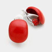 Lacquered oval metal clip on earrings