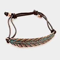 Feather & leather cord cinch bracelet