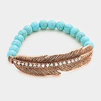 Crystal lined feather & semi precious turquoise beaded stretch bracelet