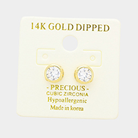 14K Gold Dipped 6mm Cubic Zirconia Round Stud Earrings