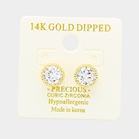 14K Gold Dipped 7mm Cubic Zirconia Round Stud Earrings