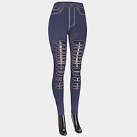 Mesh ripped hole denim jean leggings - jeggings