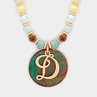 'D' Monogram pendant beaded long necklace