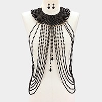 Draped long pearl strand bib body chain necklace