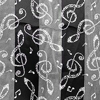 Silk feel striped music note scarf