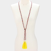Double tassel rope wrap necklace