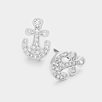 White gold plated CZ anchor stud earrings
