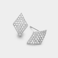 White gold plated geo CZ stud earrings