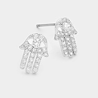 White gold plated CZ hamsa hand stud earrings