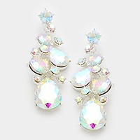 Glass crystal teardrop vine earrings