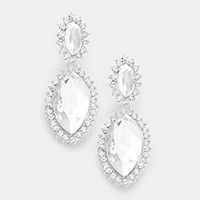 Pave trim glass crystal marquise earrings