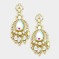 Glass crystal teardrop chandelier earrings
