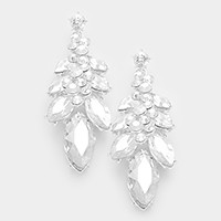 Glass crystal marquise vine earrings