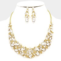 Pearl embellished glass crystal marquise vine necklace
