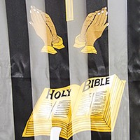 Silk feel striped cross & holy bible scarf