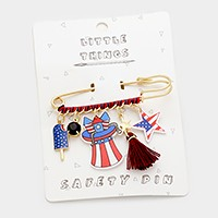 American flag star multi-charm _ Safety pin brooch