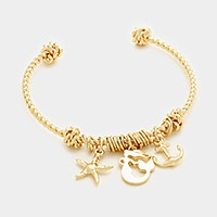 Mermaid, starfish & anchor charm cuff bracelet