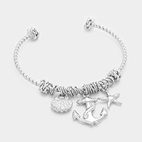 Anchor, starfish & shell charm cuff bracelet