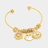Anchor, ship helm & sailing boat charm cuff bracelet