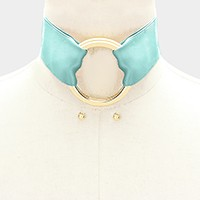 Double hoop buckle & wide satin ribbon belt choker necklace