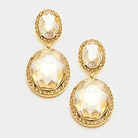 Pave trim double oval glass crystal earrings