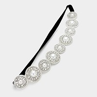 Felt back rhinestone & pearl stretch headband