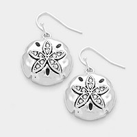 Crysyal metal sand dollar earrings
