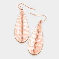 Crystal lined hammered disc earrings