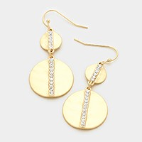 Crystal lined double hammered disc earrings