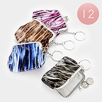 12 PCS - Crocodile pattern coin clasp purse keychains