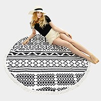 Geo pattern _ Round beach towel  with tassel trim