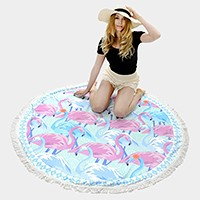 Flamingo _ Round beach towel with tassel trim