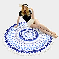 Aztec pattern _ Round beach towel with tassel trim