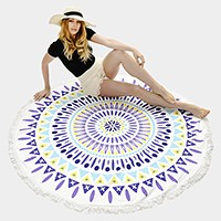 Ethnic pattern _ Round beach towel with tassel trim