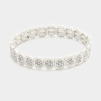 Pave metal stretch bracelet