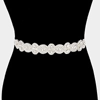 Felt back rhinestone sash ribbon bridal wedding belt / Headband