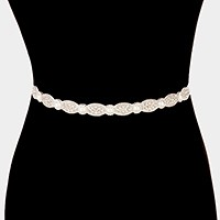 Felt back rhinestone & pearl sash ribbon bridal wedding belt