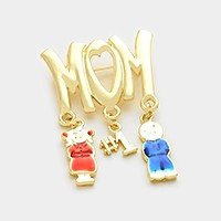 #1 Mom children charm brooch