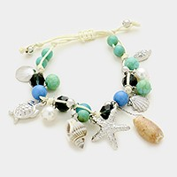 Starfish & shell multi-charm beaded cinch bracelet