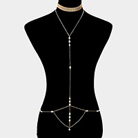 2 PCS - Metal mesh choker + crystal body chain necklace