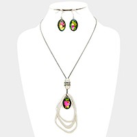 Oval glass crystal triple abstract hoop necklace