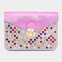 Crystal studded smart cellphone clutch / crossbody bag with strap