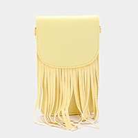 Fringe smart cellphone pouch crossbody bag with strap