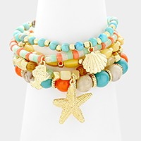 5 PCS - Starfish & shell charm beaded stack stretch bracelets