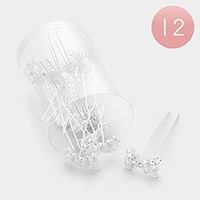 12 PCS - Mini crystal bow hair combs