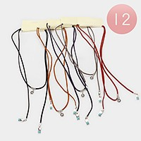 12 PCS - Geo double turquoise drop faux suede wrap choker necklaces